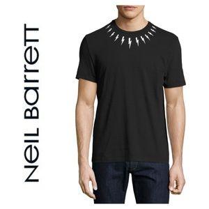 NWT Neil Barrett Lightning Bolt Short Sleeve Shirt